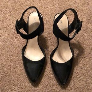 Franco Sarto Black Strap Heels